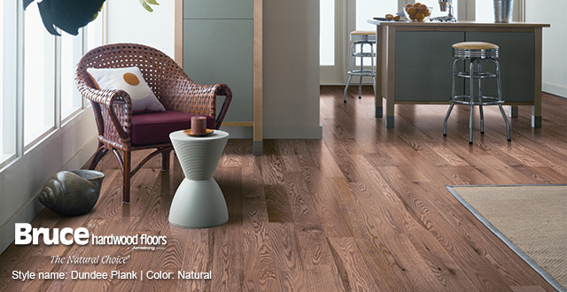 Bruce Hardwood Floors. Style name: Dundee Plank | Color: Natural